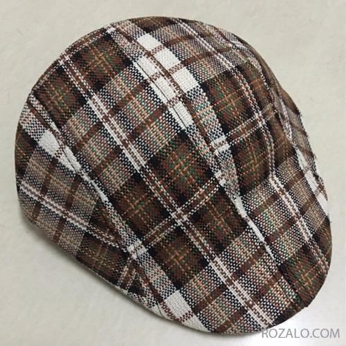 Mũ beret trẻ em ROZALO RME3541CXT (Caro xám kẻ sọc trắng)