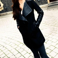 Giá bán New Fashion Korean Style Women Clothes Winter Woolen Warm V-neck Long Coat C399 Color Black – intl