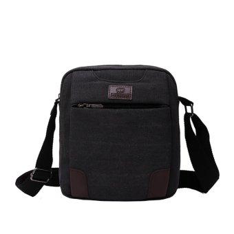 New Men Canvas Casual Shoulder Crossbody Bag(Black) - intl