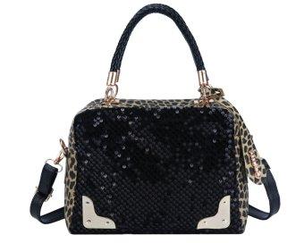 ooplm Women Fashion Sequins Leopard Splice Satchel Crossover Bag -Intl - intl