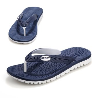 PINSV Men's Flip-Flops Casual Sandals (Blue) - intl