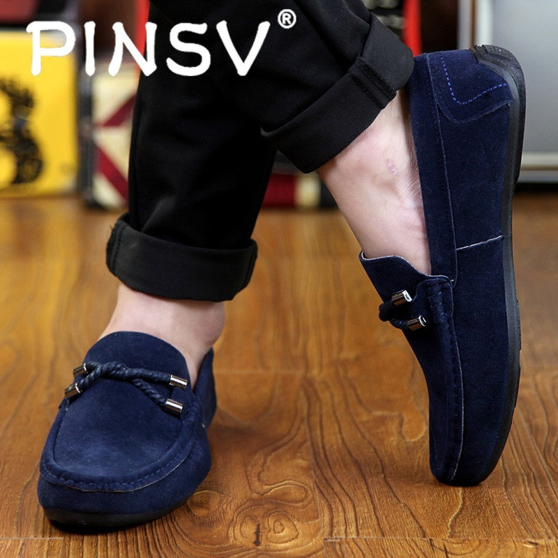... Casual Slip On Shoes Blue Intl pinsv s slip ons loafers fashion cow suede leather