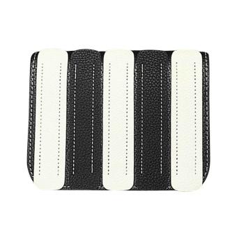 PU Leather Women Mix-Color Vertical Stripes Shoulder Crossbody Bag(Black) - intl