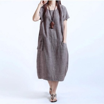 QQ Large size loose long fat thin dress Coffee - intl