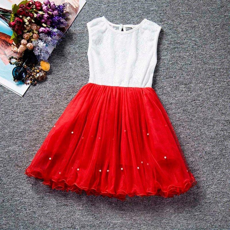 Giá bán Quần Áo Nữ Áo Công Chúa Dự Tiệc Không Tay Trẻ Em Áo Dài Váy Xòe Buộc Hoa (Đỏ) - Quốc tế - Quốc tế