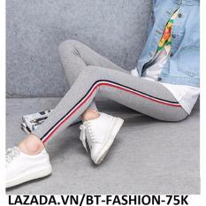 Quần Thun Ôm Legging Thời Trang Hàn Quốc Mới - BT Fashion QD003F (Xám Trắng -Sọc Nhỏ Đỏ)