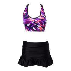 Giảm giá Set bikini áo họa tiết lập thể + quần váy H098
