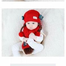 Bảng Giá Set Mũ len tóc giả có khăn cho bé từ 6-24 tháng(đỏ)
