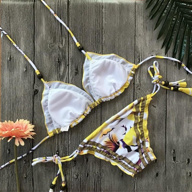 Nơi bán Sexy Women Bikini Set Bandage Printing Rivet Padded Swimwear Bathing Swimsuit M - intl