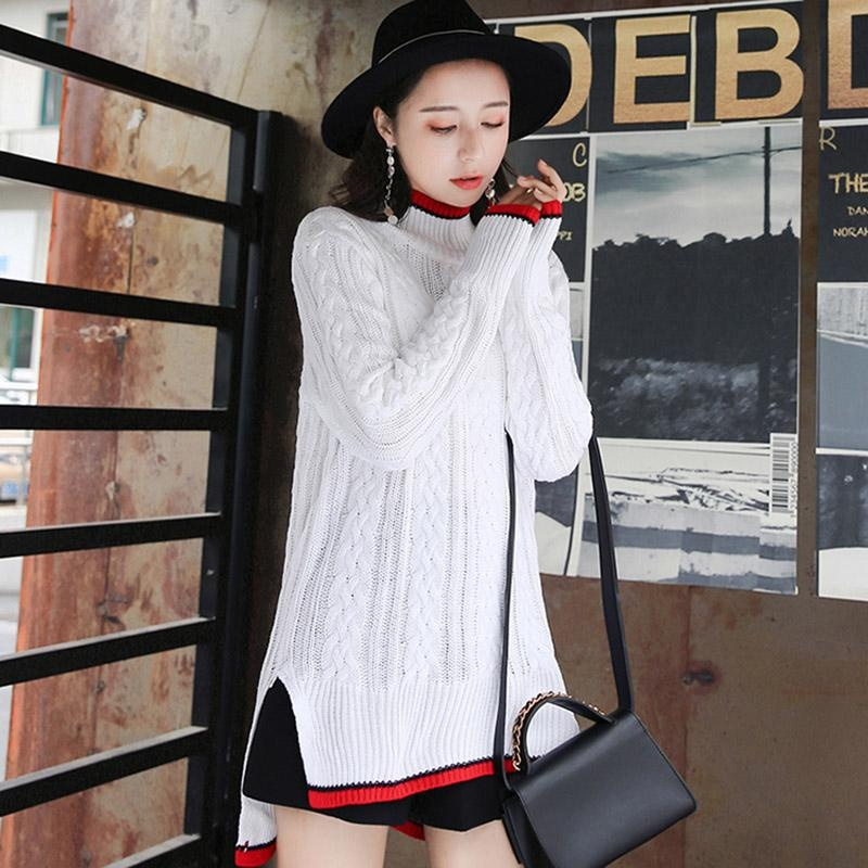 ... Small Wow Maternity Korean High-neck Stitching Contrast Color Knitting Long Sleeve Sweater White ...