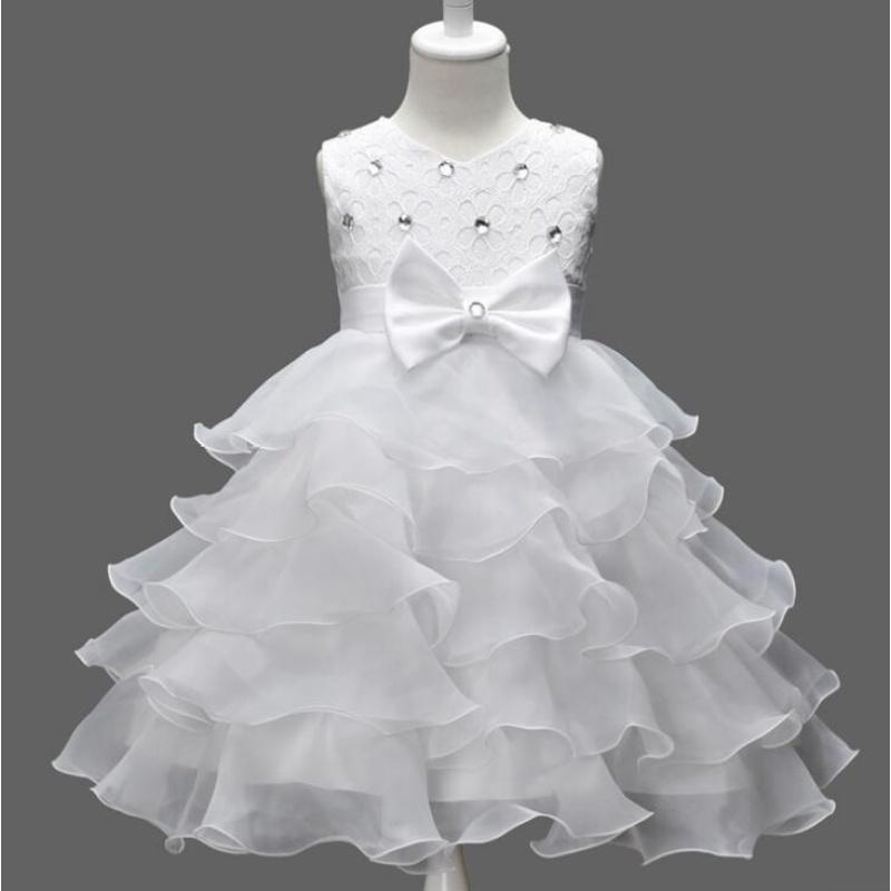 Giá bán TB Girl dress dress flower bow dress dress princess dress WHITE - intl