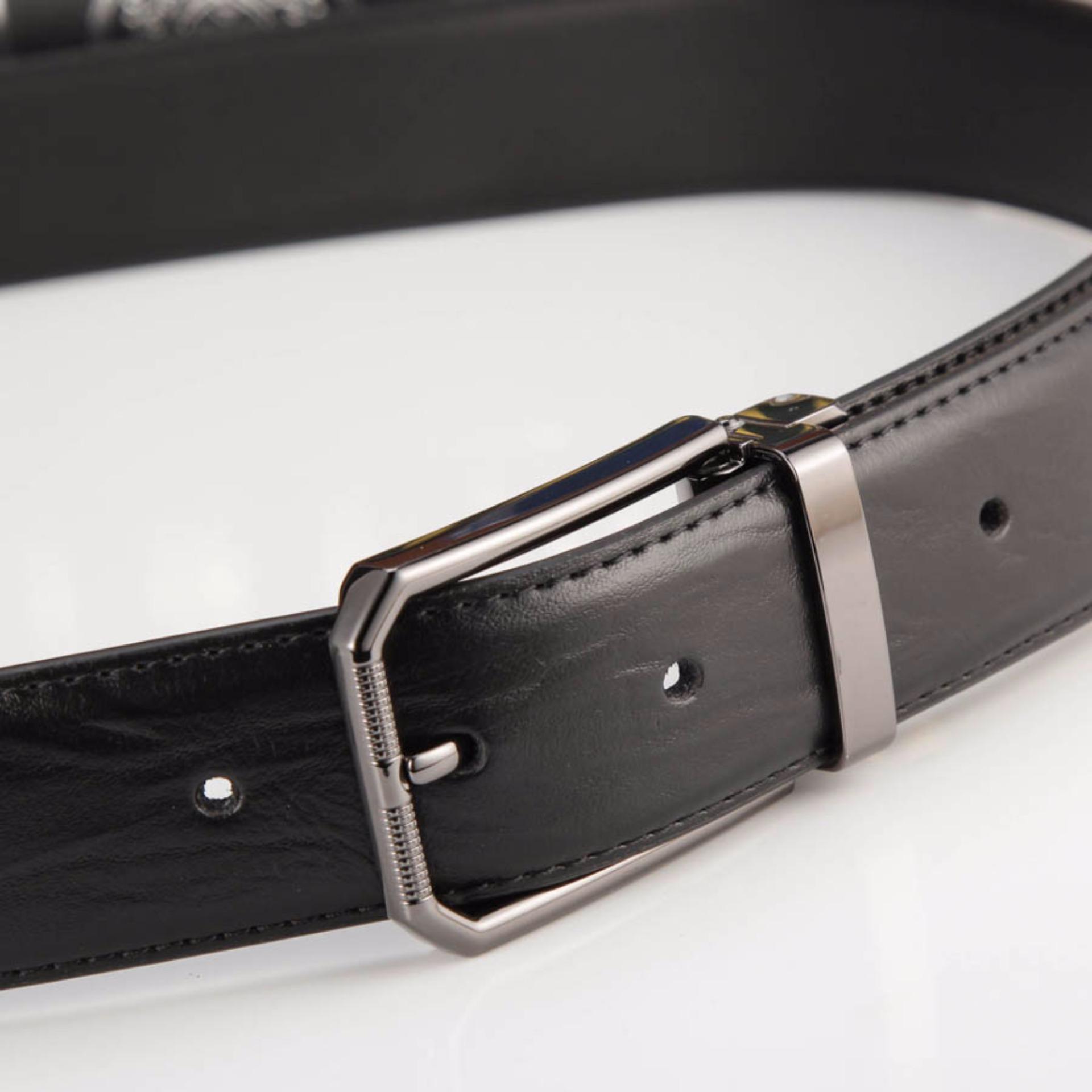 Thắt Lưng Nam Da Bò 4U Đầu Phối Đen T180D (Đen)