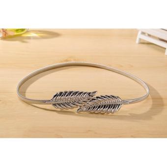 NO007FAAA2PWOMVNAMZ-4666278 - Thắt lưng nữ mặc đầm hình chiếc lá thời trang (bạc)