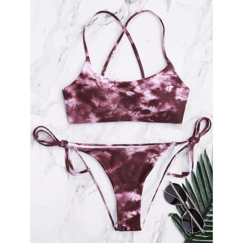 Hình ảnh Tie Dye Criss Cross Tied Bikini Set - intl