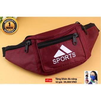 Túi bao tử đeo chéo chống nước (Đỏ) + tặng khăn đa năng (Màu ngẫu nhiên)
