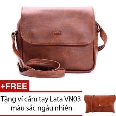 Túi đeo chéo LATA HN00 (Da bò đậm ) + Tặng 1 ví cầm tay Lata VN03