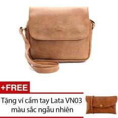Túi đeo chéo LATA HN00 (Da bò nhạt) + Tặng 1 ví cầm tay Lata VN03