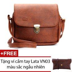 Túi đeo chéo LATA HN07 (Da bò đậm ) + Tặng 1 ví cầm tay Lata VN03