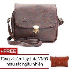 Túi đeo chéo LATA HN07 (Da nâu) + Tặng 1 ví cầm tay Lata VN03