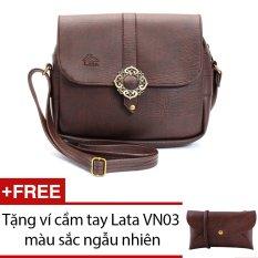 Túi đeo chéo LATA HN09 (Da nâu) + Tặng 1 ví cầm tay Lata VN03