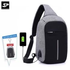 Túi đeo chéo phiên bản chống trộm CỔNG SẠC USB vừa IPAD C203 (Màu ghi) + tặng 1 móc khoá hình balo
