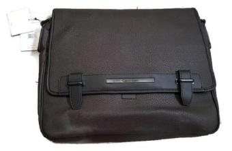 Túi đeo vai da nâu cao cấp Calvin Klein messenger leather laptopbag (Mỹ)