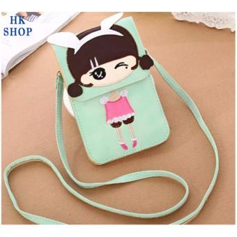 Túi điện thoại cô gái xinh xắn HK SHOP G3 (Xanh Cốm)
