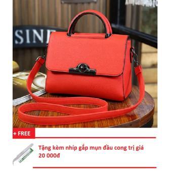 Túi sách nữ 3 ngăn sang trọng (đỏ) + Tặng kèm nhíp gắp mụn đầu cong