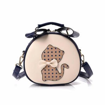 Túi xách nữ dáng tròn hình mèo Letin TDC-SP-3A1 TRẮNG XANH