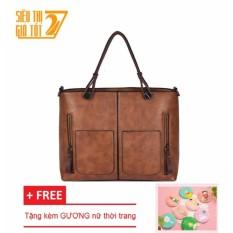 Túi xách thời trang CNC 1 (Da bò)+TẶNG 01 GƯƠNG nữ cầm tay vằ khăn lau túi