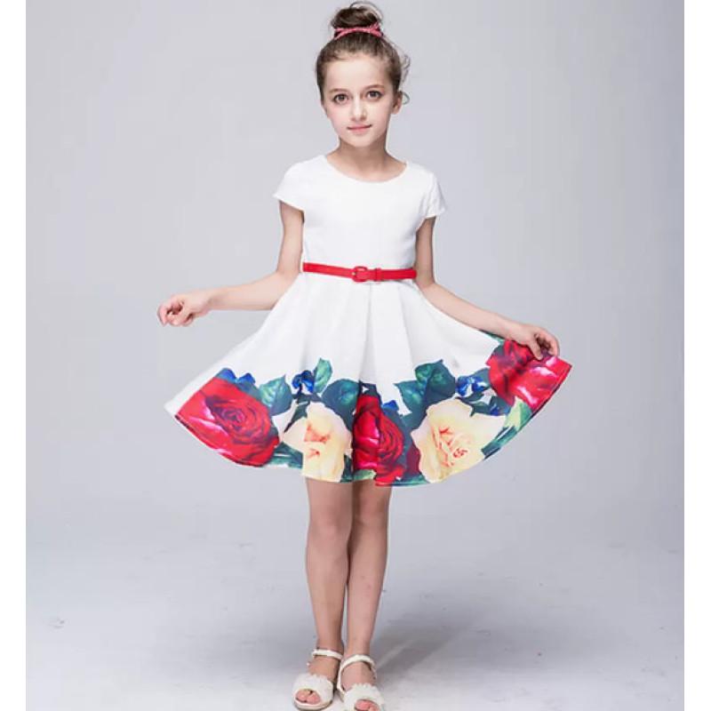 Giá bán Váy Đầm cho bé họa tiết hoa hồng nổi dành cho bé từ 110 cm đến 150 cm
