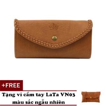 Ví cầm tay LATA VN01 (Da bò nhạt) + Tặng 1 ví cầm tay Lata VN03