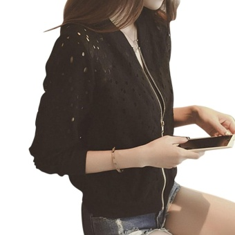 Women Bomber Long Sleeve Lace Sunscreen Thin Baseball Coat(black) -intl