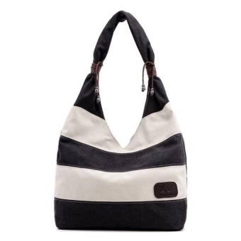 Women Fashion Stripe Handbag Shoulder Bag Large Tote Ladies PurseCoffee - intl