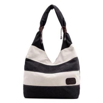 Women Fashion Stripe Handbag Shoulder Bag Large Tote Ladies PurseCoffee - intl