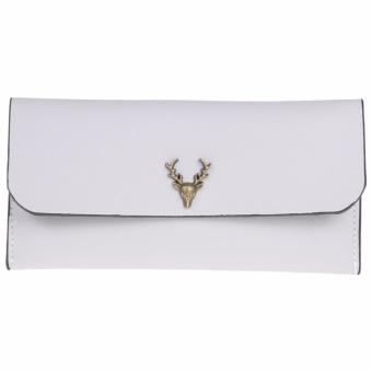 Women Long Wallet PU Leather Deer Heads Coin Clutch (Grey) - intl