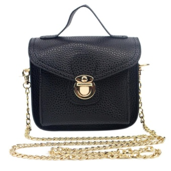 Women PU Leather Cross Body Bag with Chains (Black) - intl