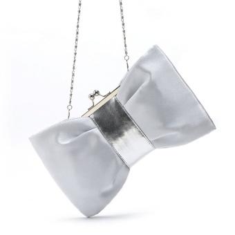 Women Purse Handbag Evening Party Bag Satin Clutch (White) - intl