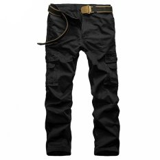 Giá Sốc Xialu Men's Plus Fertilizer Straight Mid-waisted Long Cargo Pants Black(Belt not include) – intl   XIALU