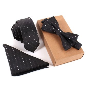 YBC Men Fashion Tie Set Polyester Silk Necktie + Handkerchief + Bow Tie - intl