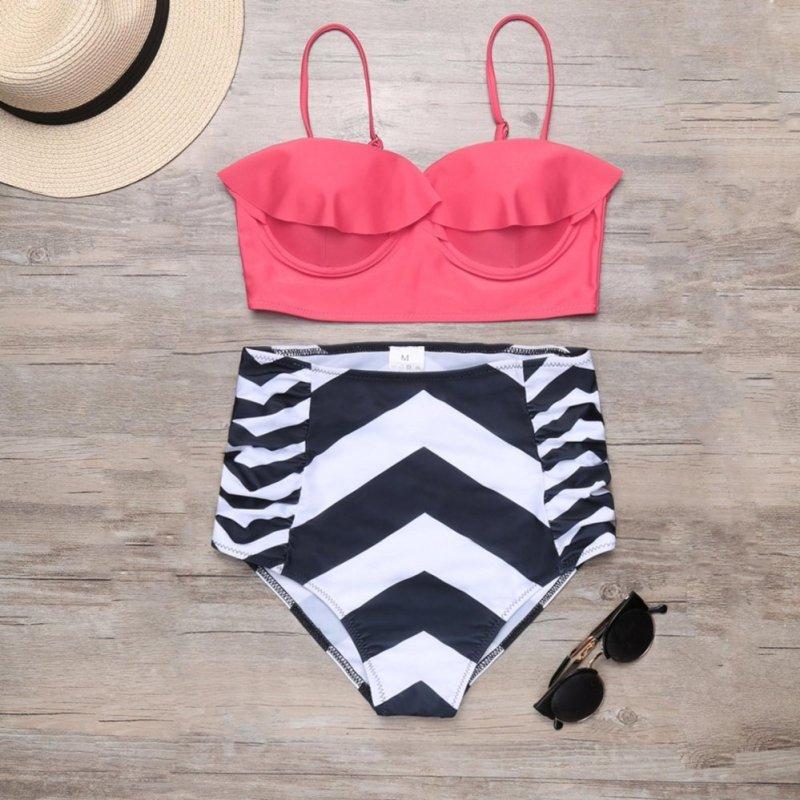 Nơi bán Yika Solid Ruffle Push Up Top and Geometric Print Brief Bikini Set Swimwear - intl