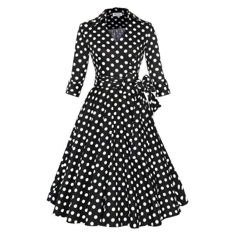 Nơi bán Zaful Polka Dot Printed Dress 3/4 Sleeved Woman Elegant Big Hem - Intl --TC