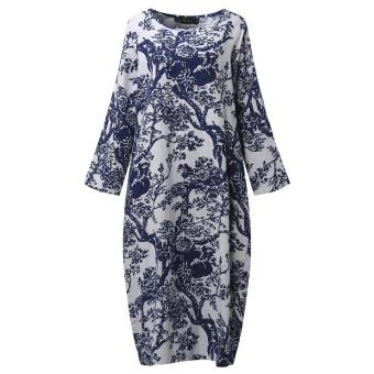 ZANZEA Women's Long Sleeve Loose Casual Floral Print Plus Long Maxi Dress Kaftan (White) - intl - 4