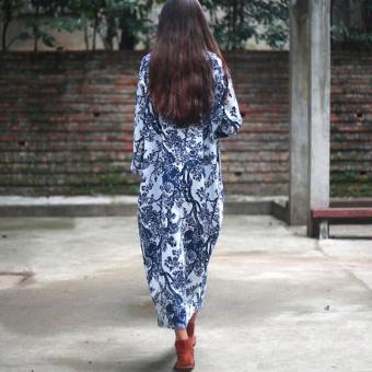 ZANZEA Women's Long Sleeve Loose Casual Floral Print Plus Long Maxi Dress Kaftan (White) - intl - 3