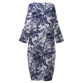 ZANZEA Women's Long Sleeve Loose Casual Floral Print Plus Long Maxi Dress Kaftan (White) - intl - 5