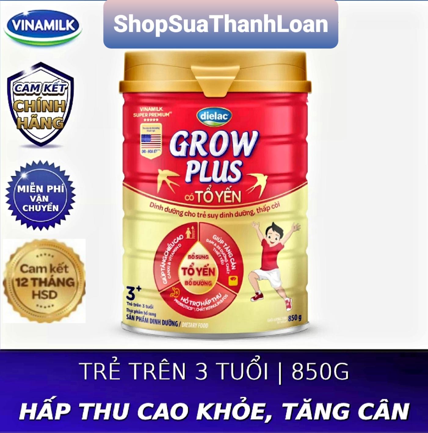 [HSD T1-2023] SỮA BỘT DIELAC GROW PLUS CÓ TỔ YẾN (850G) (CHO TRẺ TRÊN 3 TUỔI)