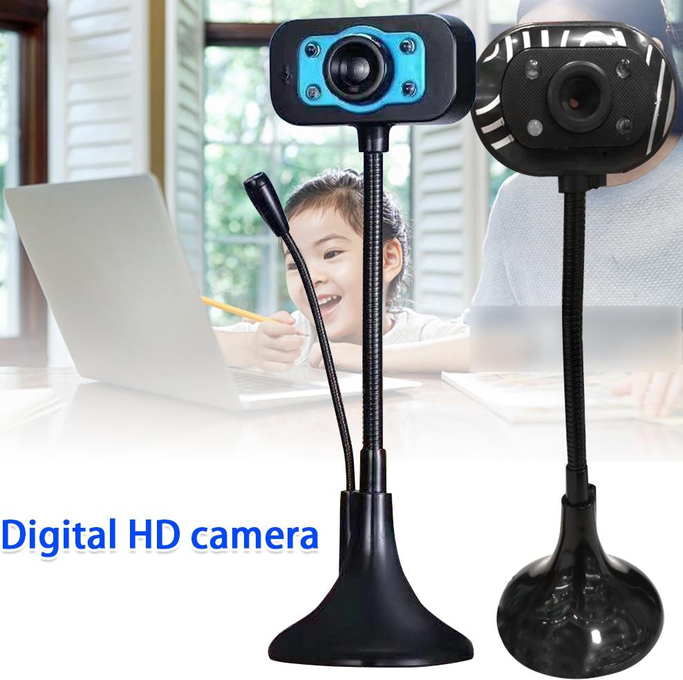 (Bảo hành 06 tháng) Webcam Chân Cao có mic dùng cho máy tính có tích hợp mic và đèn Led trợ sáng - Webcam máy tính để bàn siêu nét 3