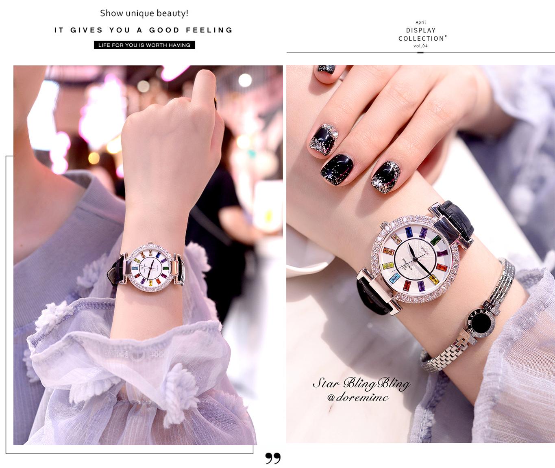 Đồng hồ nữ KING TIME Đính Đá Ruby Cầu Vòng, Mặt to nổi bật, Chống nước sinh hoạt 11