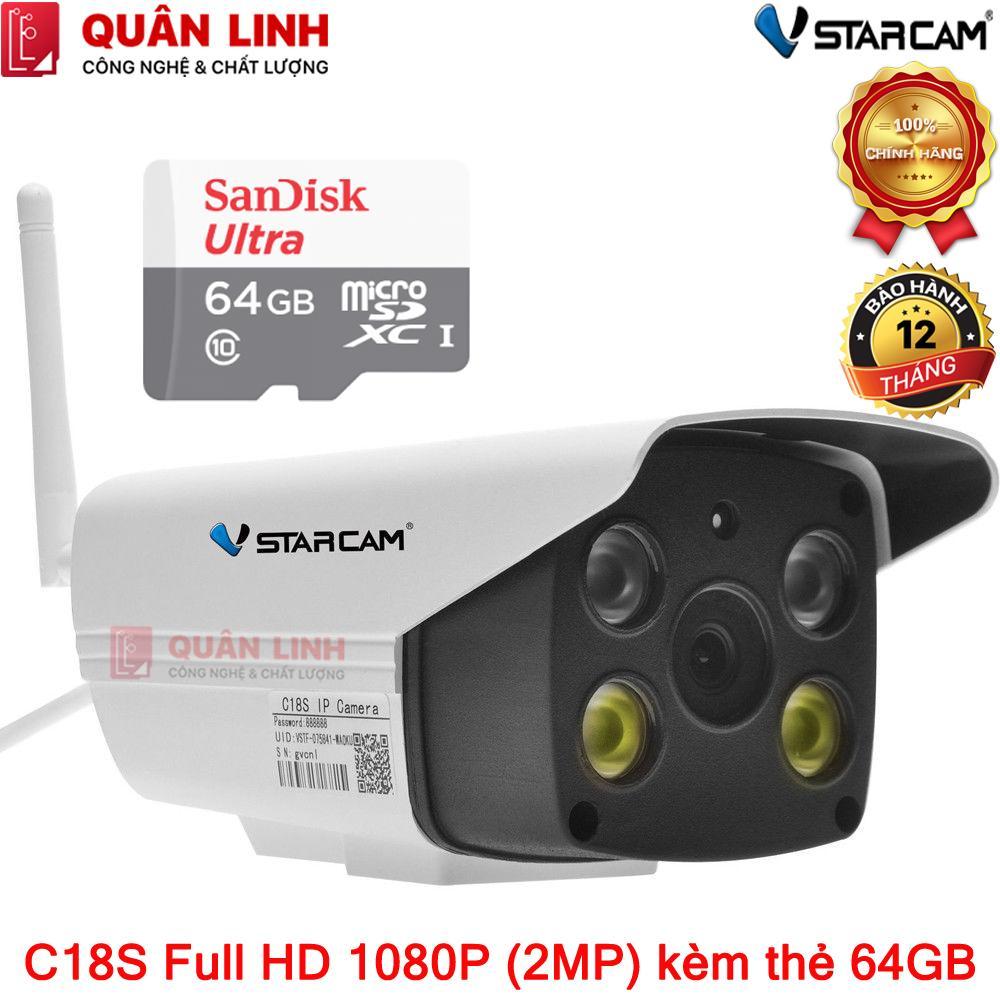 Camera giám sát ngoài trời Vstarcam C18s 2MP Full HD 1080P full màu cả ngày lẫn đêm, kèm thẻ nhớ 64GB