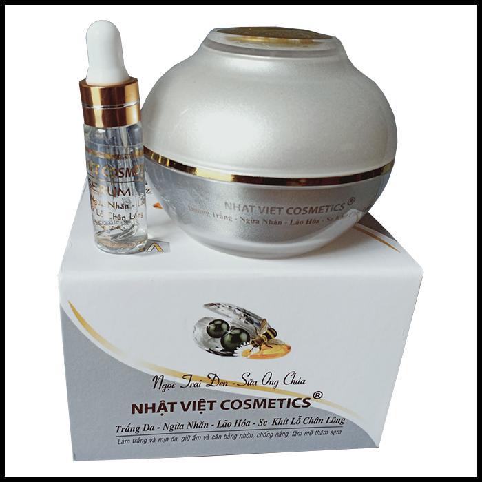Kem trắng da - Ngừa nhăn - Lão hóa - Se khít lỗ chân lông Ngọc trai đen - Sữa ong chúa Nhật Việt 30g (Trắng - Xám)